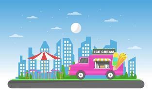 camión de comida que vende helados en el parque. vector