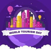 Hong Kong Skyline on Globe, World Tourism Day vector
