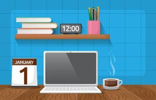 Laptop and Cup of Coffee on Office Table Illustration vector