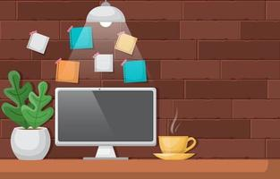 Computer and Coffee on Office Table Illustration vector
