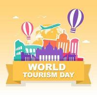 Roma Italia horizonte en el mundo, día mundial del turismo vector