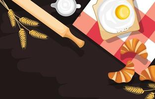 Egg on Bread, Croissant, and Rolling Pin on Kitchen Background vector