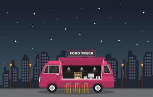 Food Truck Parked in City at Night vector
