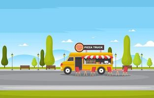 Food Truck Selling Pizza at in the Park vector