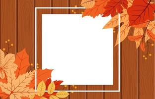 Autumn Season Card with with Wooden Background and Red and Yellow Leaves vector