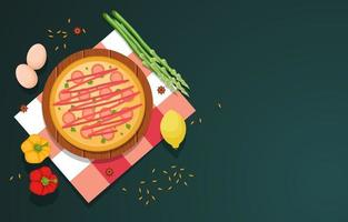 Pizza, Eggs, and Vegetables on Kitchen Background vector