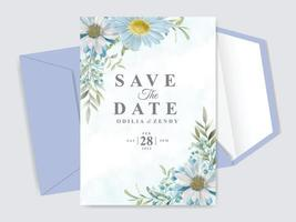 hermosas tarjetas de invitación de boda florales dibujadas a mano vector