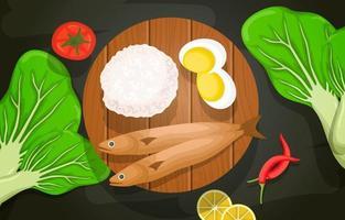 pescado, arroz, huevos y verduras sobre tabla de madera vector