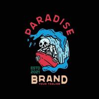 Wave Paradise Skull with sky. Vintage Style For t shirt vector