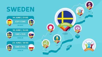 suecia mapa partidos de futbol vector