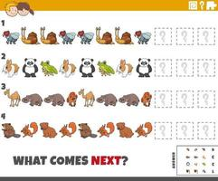 educational pattern game for children with cartoon animals vector