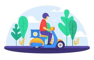 Man Riding Scooter for Express Delivery Service vector