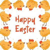 Happy Easter illustration, banner, greeting card design. Little chicken, bird, domestic animal.