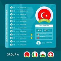 turkey team lineup vector