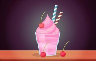 deliciosa taza de helado en la ilustración de la mesa vector