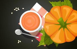 Pumpkin and Drink with Spoon in Top View vector