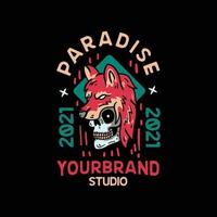 Paradise Wolf Skull. Vintage Style For t shirt vector