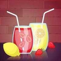 bebidas de jugo de fresa y limón vector