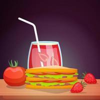 sándwich con bebida de fresa vector