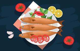 pescado cocido y verduras en un plato vector