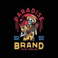 Paradise Guitar with Skull. Vintage Style For t shirt vector
