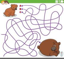 educational maze game with cartoon baby bear and his mother vector