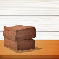 brownies de chocolate en la mesa de madera vector