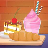 croissant, helado y tarta vector
