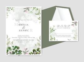 elegantes tarjetas de invitación de boda florales dibujadas a mano vector