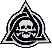 military sign with skull in triangle, grunge vintage design t shirts vector