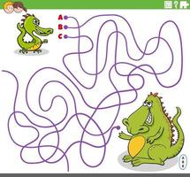 educational maze game with cartoon baby dragon and his mother vector