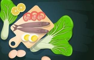 pescado, huevos y verduras en una tabla de cortar vector