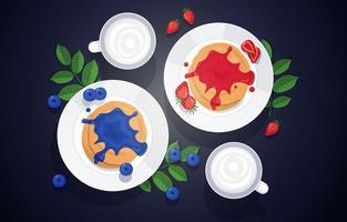 tortitas de arándanos y fresas con tazas de crema vector