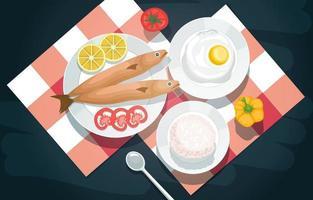 pescado, arroz, huevos y verduras en un picnic vector