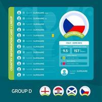 Czech Republic team lineup vector