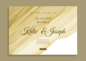 Elegant wedding landing page with hand painted gold design vector