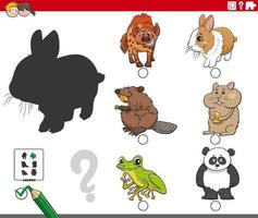 shadows game with cartoon animal characters vector