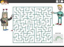 maze educational game with boys at costume party vector