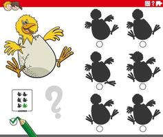 educational shadows game with cartoon chick character vector