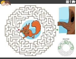 maze educational game with squirrel with accorns vector