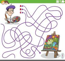 educational maze game with cartoon painter and his painting vector