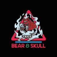 Bear and skull character illustration for tshirt vector