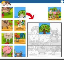 jigsaw puzzle game with comic farm animal characters vector