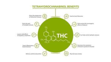 White information poster of Tetrahydrocannabinol Benefits with benefits with icons and tetrahydrocannabinol chemical formula vector