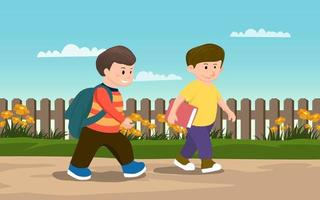 Two Little Boys Walking on Sidewalk vector