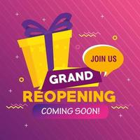 banner of grand reopening coming soon with gift box present