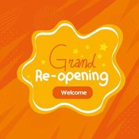 banner of grand reopening on orange background vector