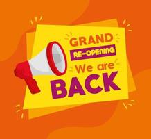 Banner of reopen business with megaphone vector