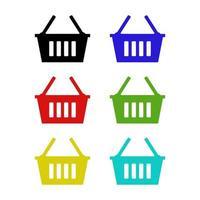 Shopping Basket Set On White Background vector
