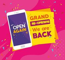 Reopening business banner with smartphone vector